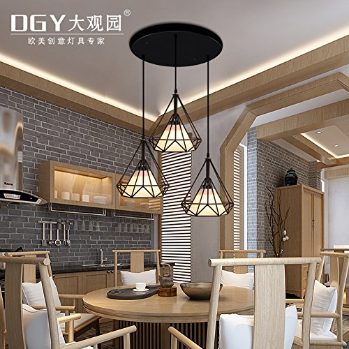 Quietness @ Loft Retro Creative Diamond Chandeliers Modern Simple Nordic Iron Lamps Retro 400Mm290Mm Pendant Lamp For Kids Bedroom Dinning Room Living Room