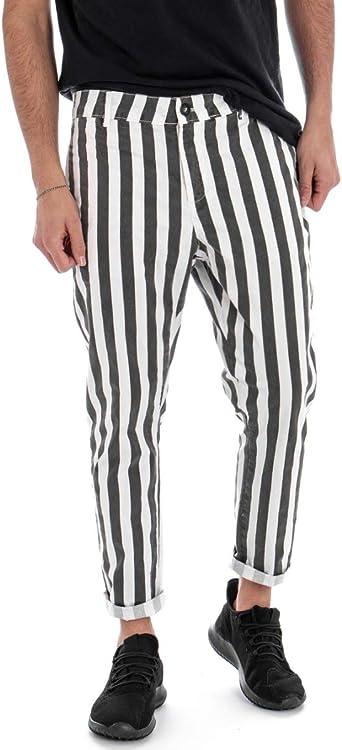 Giosal - Pantalón de Hombre de algodón con Estampado a Rayas y ...