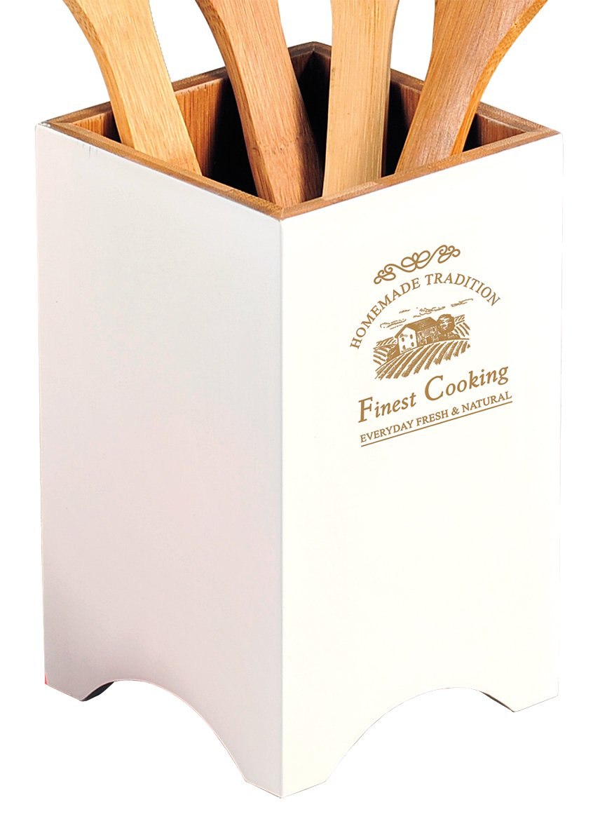 Kesper Country House Utensil Container, White/Brown, 11 x 11 x 18 cm by Kesper (Image #1)