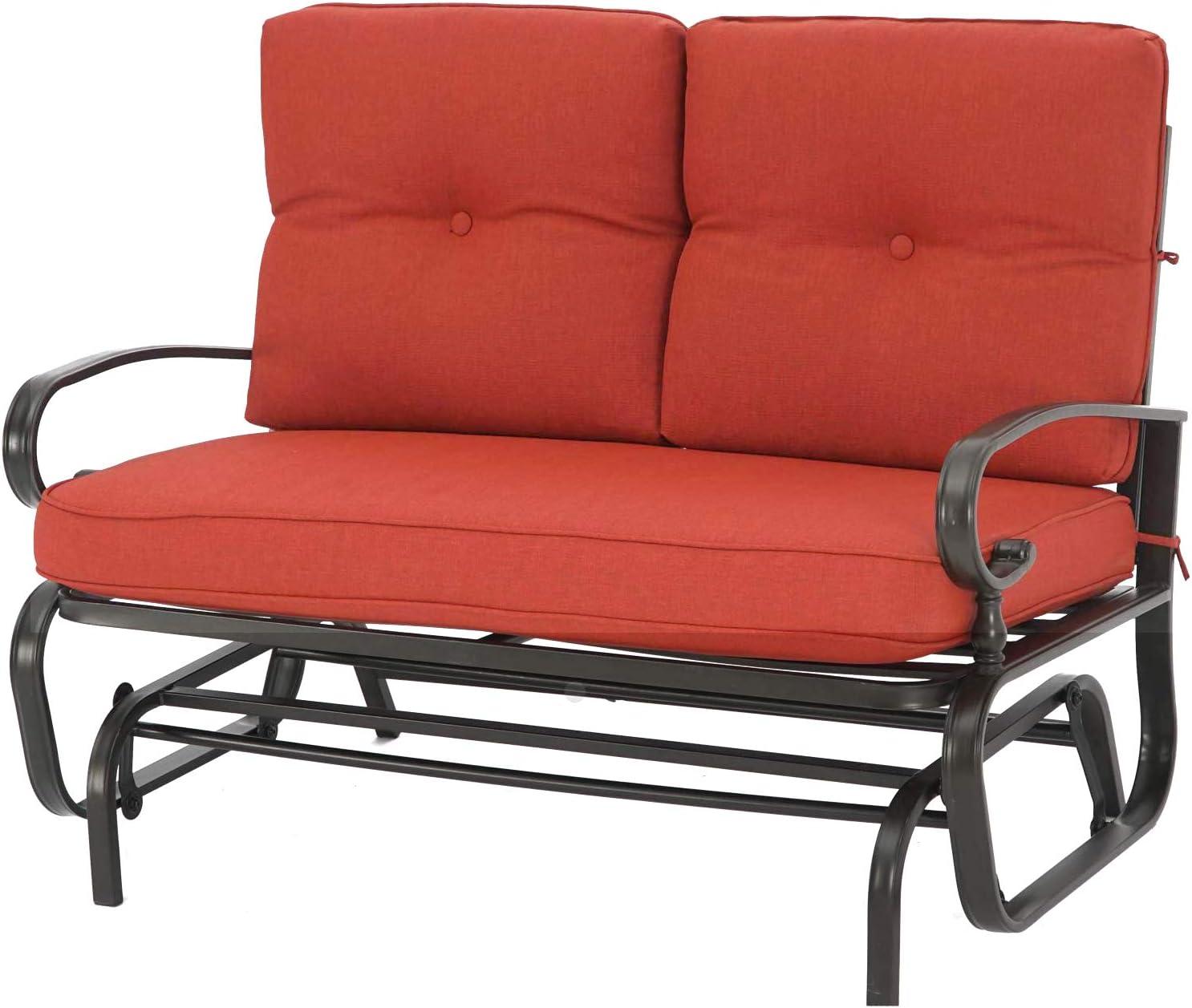 Oakmont Outdoor Loveseat Patio Swing Rocking Glider 2 Seats Metal Furniture Set (Red)