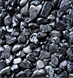 Safe & Non-Toxic {0.12'' to 0.38'' Inch} 25 Pound Bag of Marble, Gravel & Pebbles Decor for Freshwater Aquarium w/ Sleek Simple Natural River Inspired Dark Earthy Style [Gray & Black]