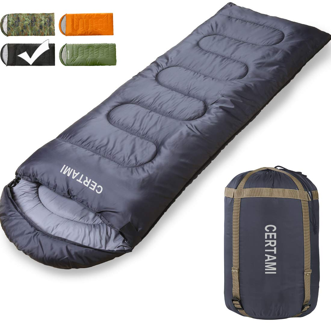 CER TAMI Sleeping Bag for Adults, Girls & Boys, Lightweight Waterproof Compact, Great for 4 Season Warm & Cold Weather, Perfect for Outdoor Backpacking, Camping, Hiking. (Dark Grey/Left Zip) by CER TAMI