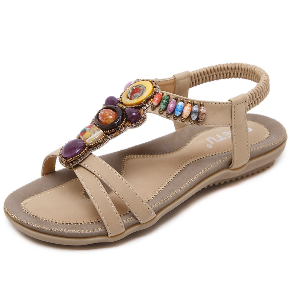 Woky Damen Sommer Sandalen mit Strass Perlen Bohemia Strand Schuhe Freizeit Flach Sandalette Grouml;szlig;e 34-44  38 EU|Beige