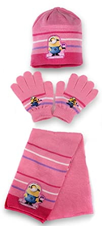 Girls Minions HAT Scarf /& Gloves Set