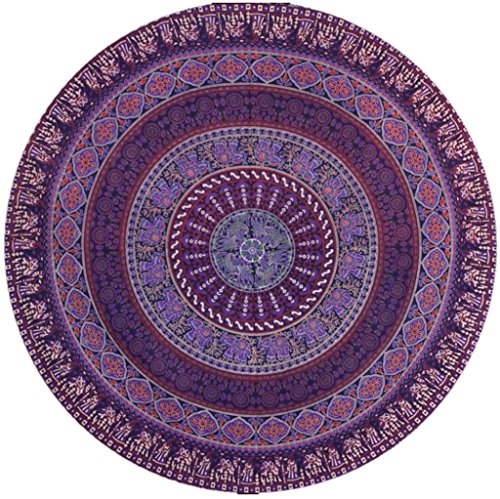 Hunputa Indian Mandala Round Roundie Beach Throw Tapestry Hippy Boho Gypsy Cotton Tablecloth Beach Towel Round Yoga Mat (Purple Bohemia Floral) For Sale