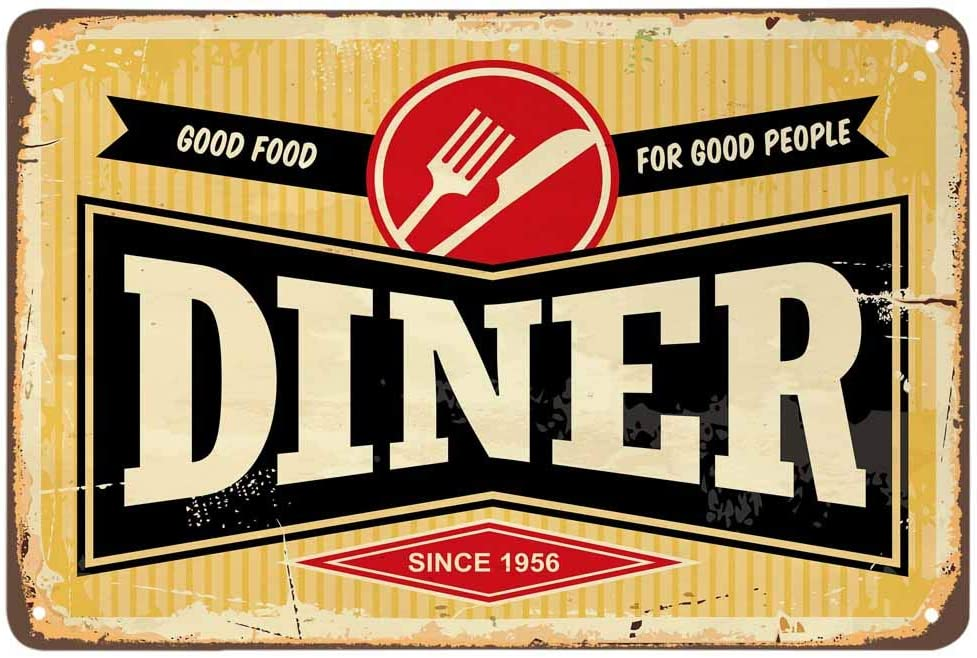 AOYEGO Diner Tin Sign,Good Food for Good People Yellow Vintage Metal Tin Signs for Cafes Bars Pubs Shop Wall Decorative Funny Retro Signs for Men Women 8x12 Inch