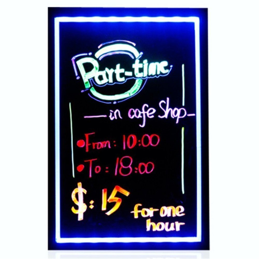 Firstand 32''x24'' Flashing Illuminated Erasable Neon LED Message Menu Sign Writing Board (7 Colors of RGB 28 Flashing-Mode Remote Control, Washable Eraser Cloth, 8pcs Fluorescent Pens)