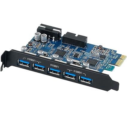 Orico PVU3-5O2I Tarjeta de expansión PCI Express de 5 puertos con 5 puertos externos USB 3.0 y un puerto USB 3.0 de doble puerto interno con conector ...