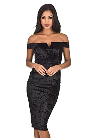 e0a568b53def2 AX Paris Women s Velvet Off The Shoulder Bardot Dress at Amazon ...