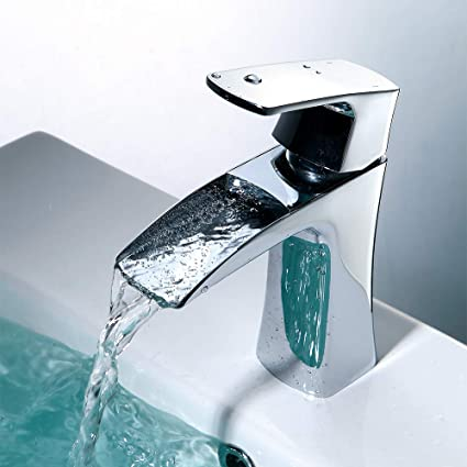 JAKARDA Waterfall Single Handle Bathroom Sink Faucet One Hole Mounted Chrome