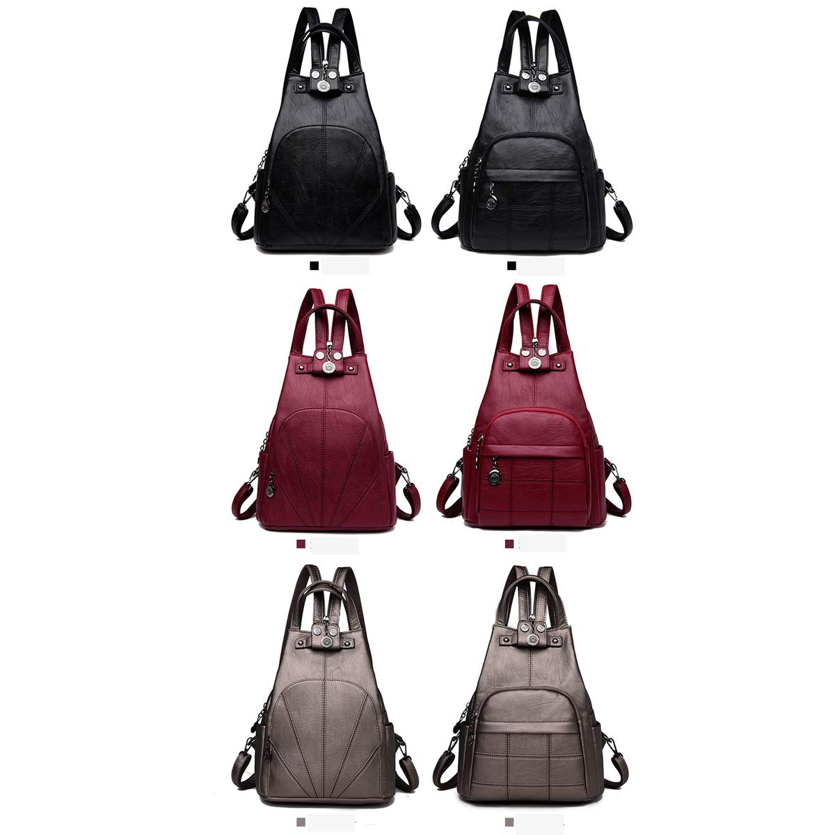 Sleek and Simple. Two Styles of Three Colors PU Leather Haoyushangmao Girls Multi-Purpose Backpack for Daily Travel//Outdoor//Travel//School//Work//Fashion//Leisure