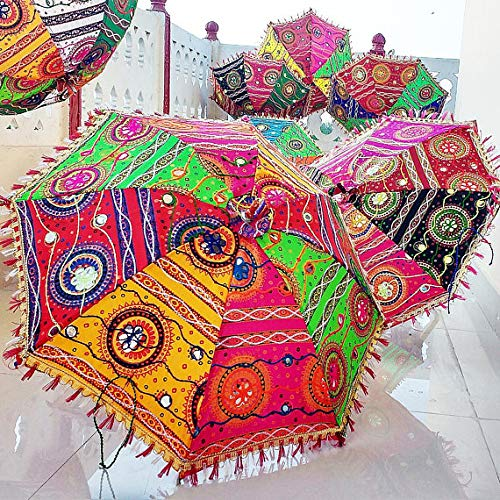 bb34fca32ca0 Amazon.com : Worldoftextile 5 Piece Cotton Sun Parasols Vintage ...