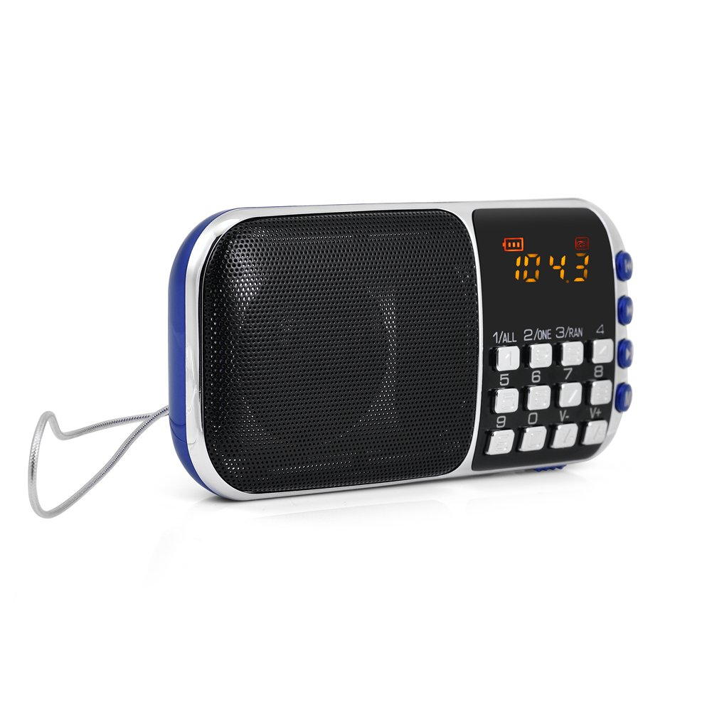 Zerone Portable FM Radio HiFi Stereo Multimedia Speaker Loud Sound Walkman Mp3 Music Player Support Micro SD TF Card USB Disk AUX with LCD Display(Blue) by Zerone (Image #5)