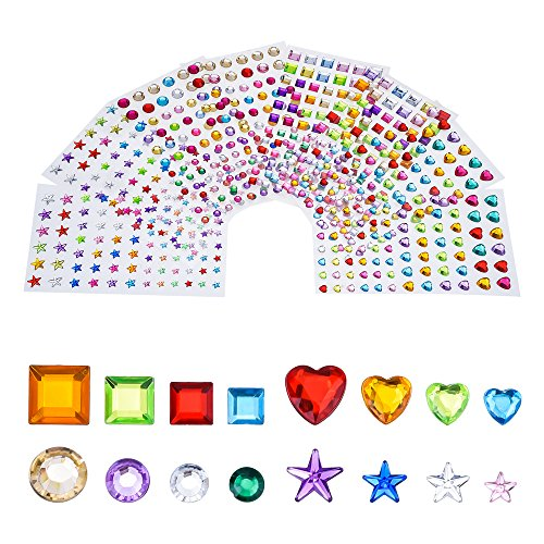 Faces Sticker Sheet (Antner Self-adhesive Rhinestone Craft Gems Sticker Sheets, Multi-color, Assorted Size, 8 Sheets)