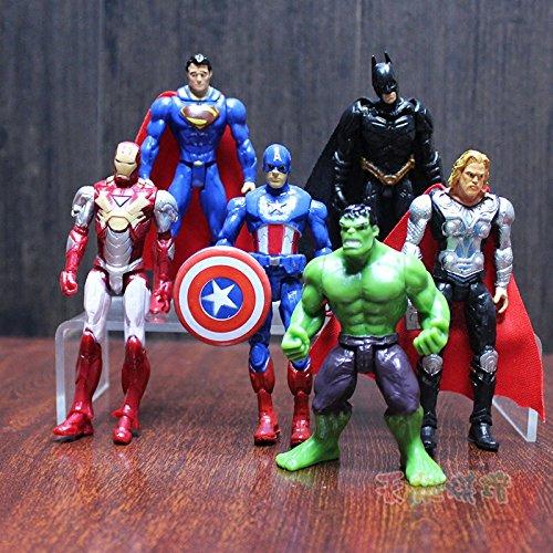 Astra Gourmet 6 PCS The Avengers Figurine Cake Topper, Hulk Captain America Iron Man Thor Batman Superman Party Favor Toys by Astra Gourmet (Image #2)