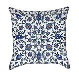 Blue Turkish Floral Flourish Throw Pillow