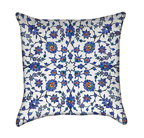 Blue Turkish Floral Flourish Throw Pillow by Chickadee Décor