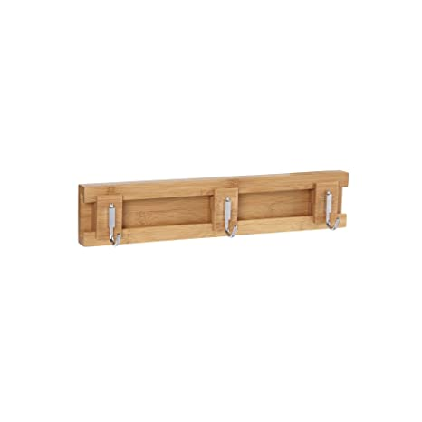 Natural Household Essentials Bamboo Sliding 3-Hook Wall Coat-Hat Rack