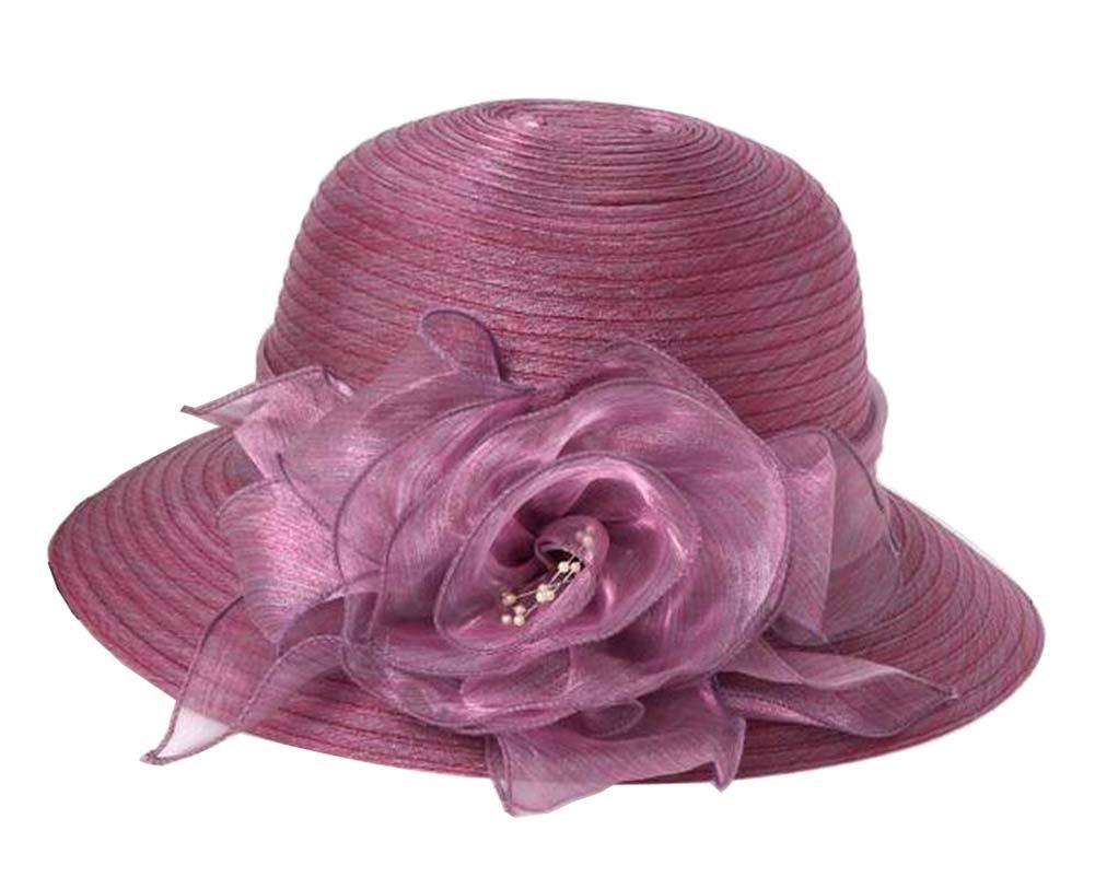 [Purple] Lady Foldable Sun Hat Elegant Organza Top Hat Dress Hat Beach Hat