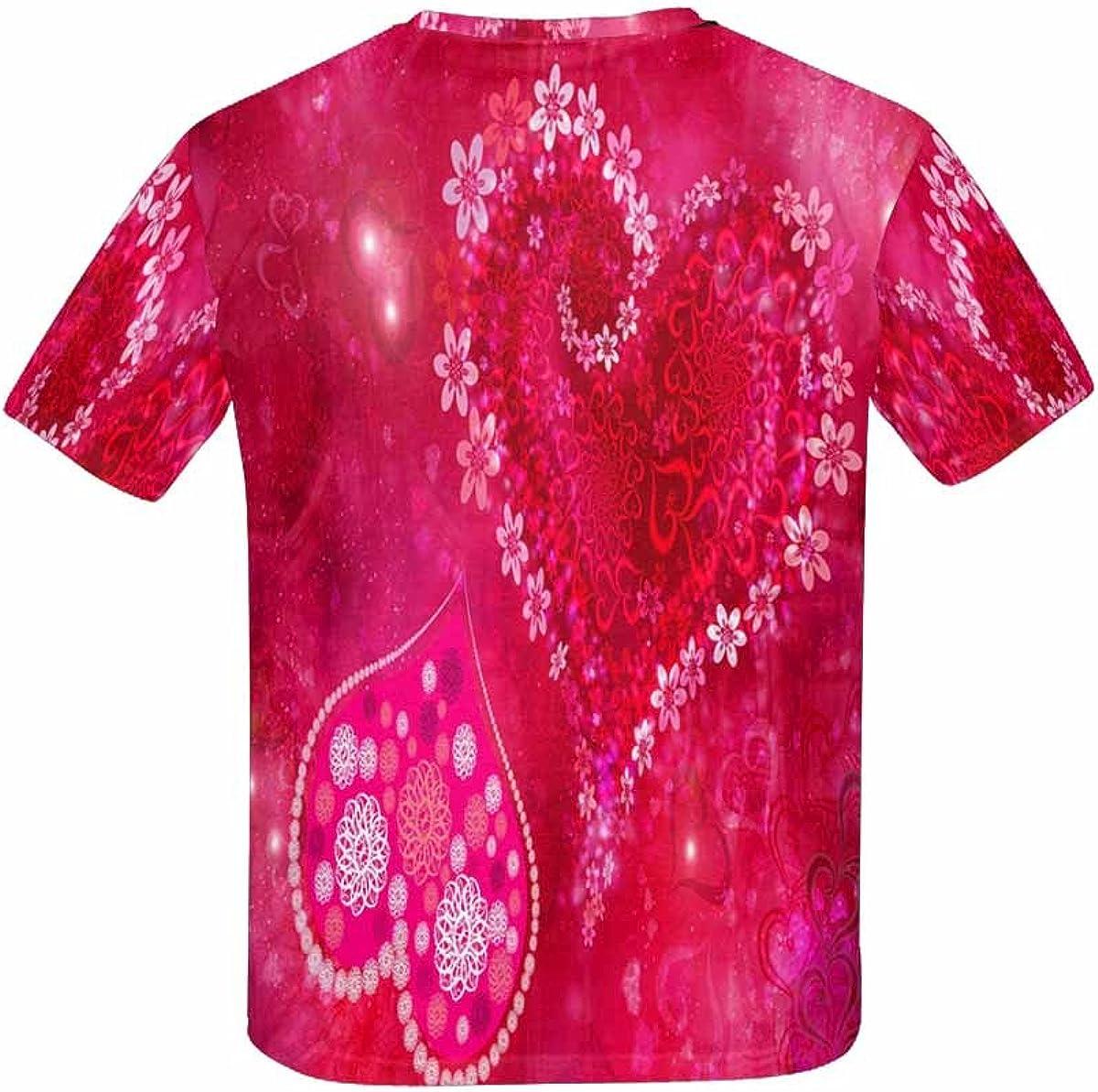 INTERESTPRINT St Valentines Day Heart Flowers Childs T-Shirt XS-XL