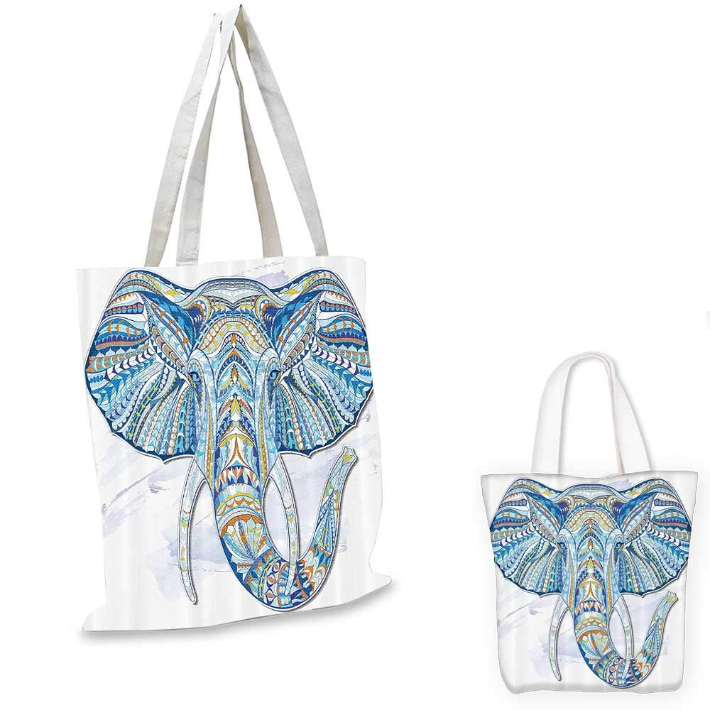 Ethnic non woven shopping bag Ethnic Totem Elephant Head Pattern with Folkloric Ornate Effects and Tribal Design Artwork fruit shopping bag Blue 12x15-10