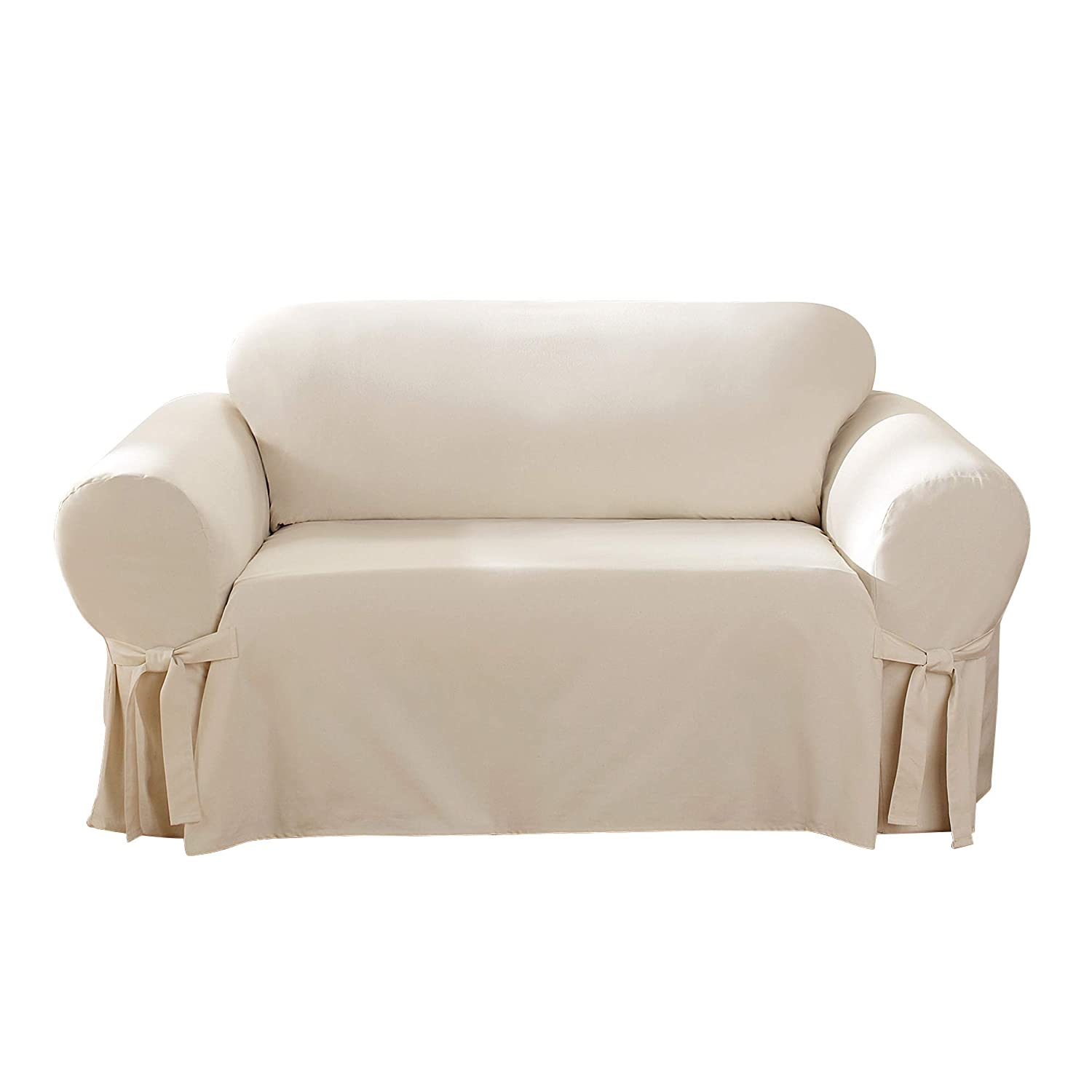 Cool Surefit Cotton Duck Loveseat Slipcover Natural Ibusinesslaw Wood Chair Design Ideas Ibusinesslaworg