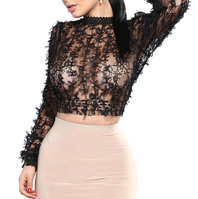 dde796db360cb9 Hffan Damen Hollow Sexy Shirt Durchsichtig Perspektive Leichtgewicht Bluse  Langarm Mode Elegant Tops Schmetterling Bogen Dekoration