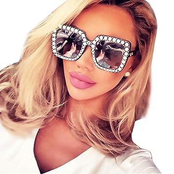 bdd6b35b8a67 Fheaven Womens Fashion Artificial Diamond Cat Ear Quadrate Big Metal Frame  Brand Classic Sunglasses (D