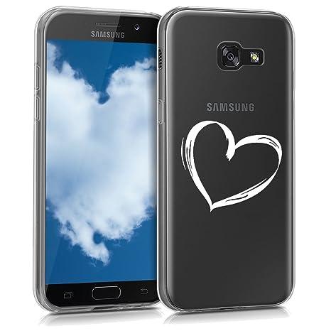 kwmobile Funda para Samsung Galaxy A5 (2017) - Carcasa de [TPU] para móvil y diseño Dibujo de corazón en [Blanco/Transparente]