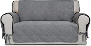 Easy-Going Micro Suede Sofa Slipcover Loveseat Cover Couch Cover with Three Pockets Quilted Pets Covers Plastic Drop Printing Pets,Kids,Children,Dog,Cat(Loveseat,Light Gray)