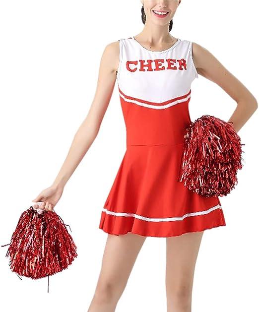Daytwork Performance Danza Costume Ragazze Donna Vestito High School Musical Cheerleader Uniforme Abbigliamento Sport Sala da Ballo Abiti Festa con Pom Poms