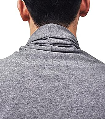 JINIDU Mens Ruffle Shawl Collar Cardigan Premium Cotton Blend Long Length Drape Cape Overcoat