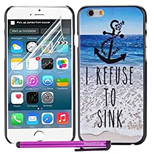 BeeShine Retail Package Stylish Design Snap-on iPhone 6 Hard Plastic Skin Back Case Cover For Apple iPhone 6 (4.7 inch) + LCD Film Screen Protector & Touch Stylus Pen (Anchor Refuse to Sink Sea Pattern) by Maris's Diary