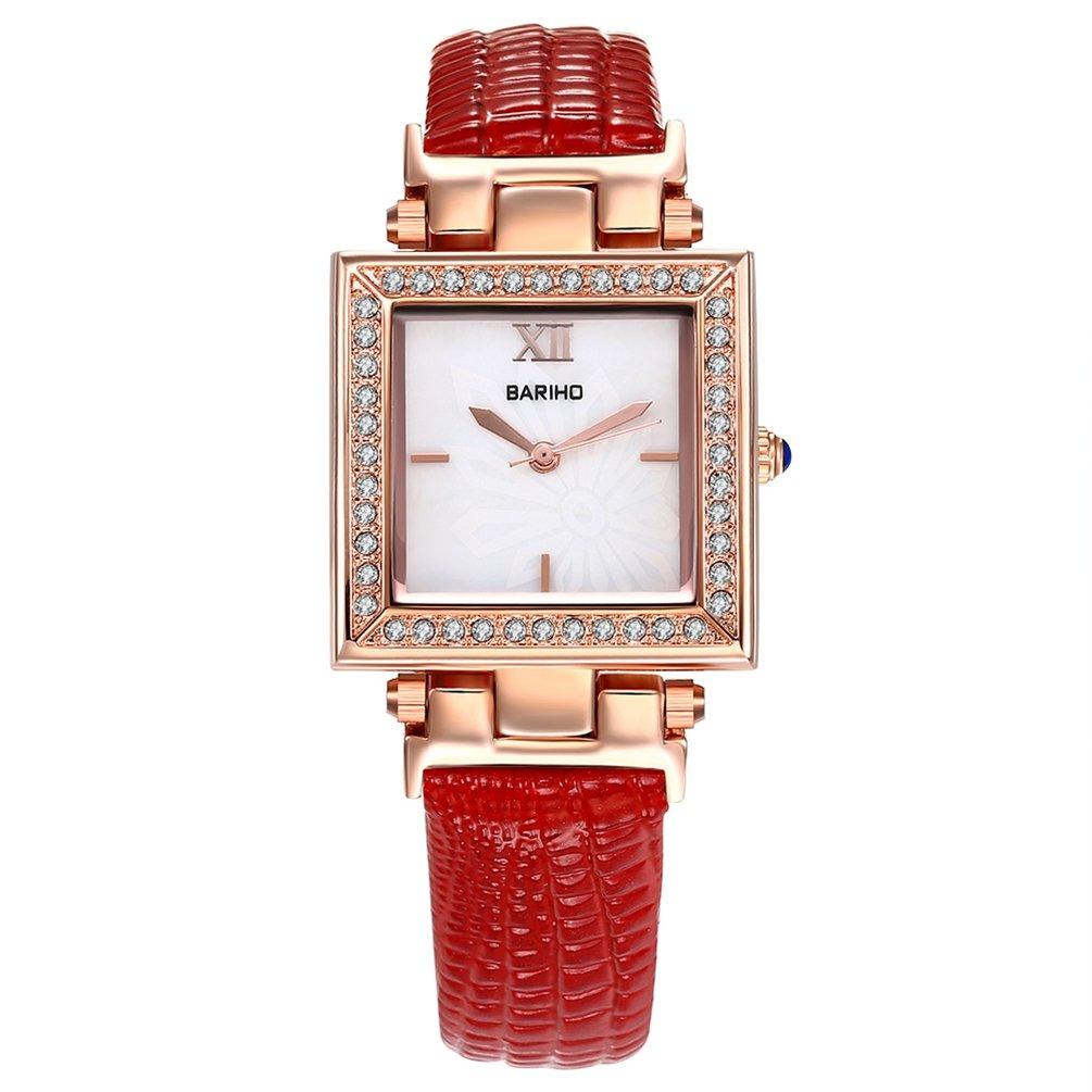 女性のエレガントなクリスタルパベ加工スクエアカットアナログウォッチ本革バンド腕時計ビジネスドレスデザイン防水 レッド B072NZKQW6 レッド レッド