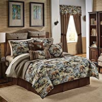 Croscill Kodiak Chenille Jacquard Woven Lodge 4 Piece Comforter Set (King)