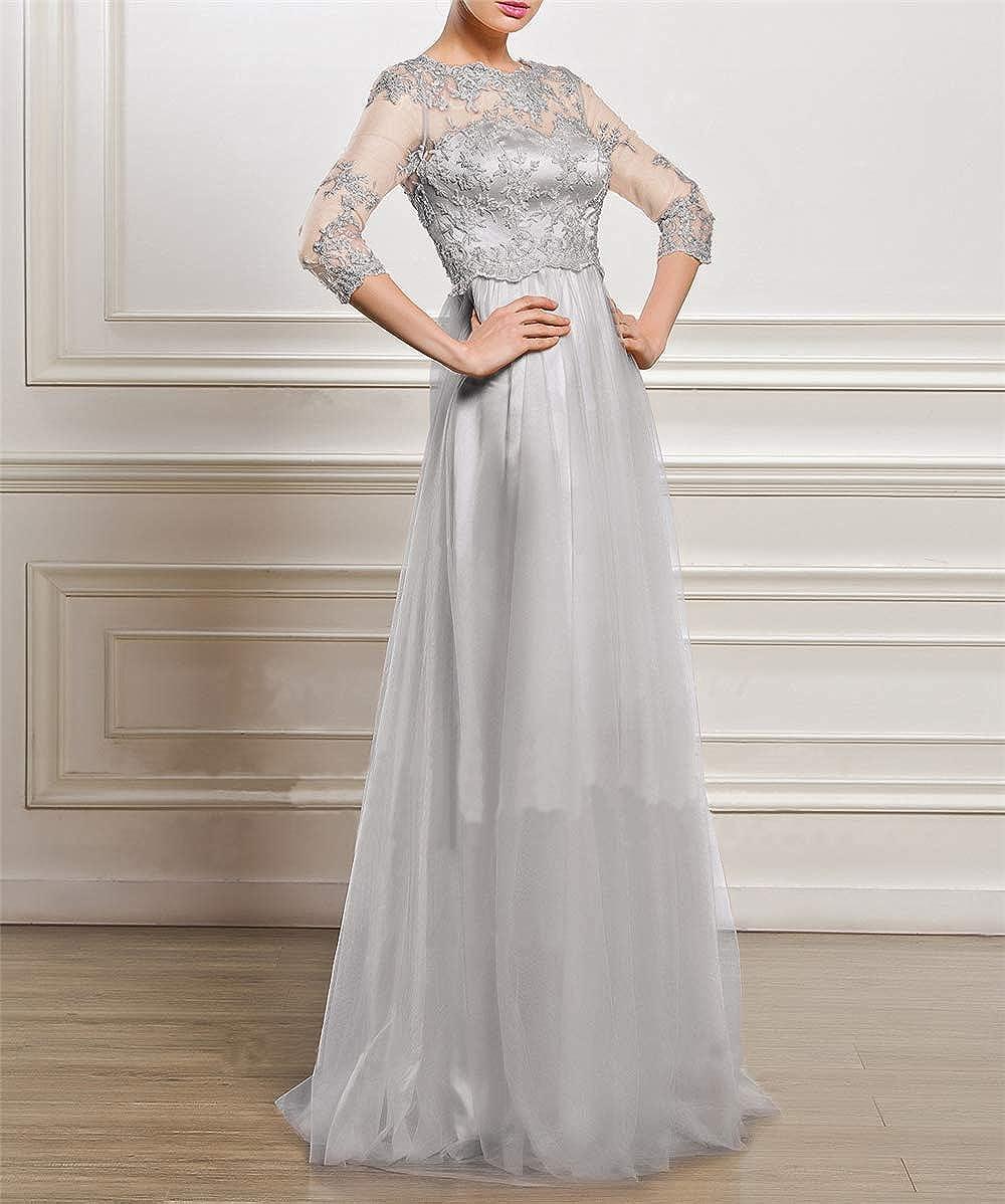 Womens Long Sleeve Long Lace Evening Dress