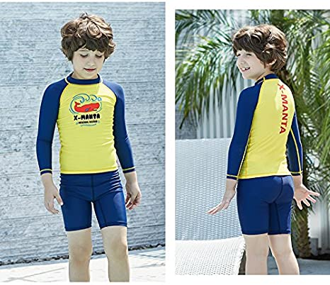 QETU Manches Courtes N/éopr/ène Jeunes Anti-UV Snorkeling Surf Maillots de Bain Enfant n/éopr/ène Maillot de Bain Surf Rash