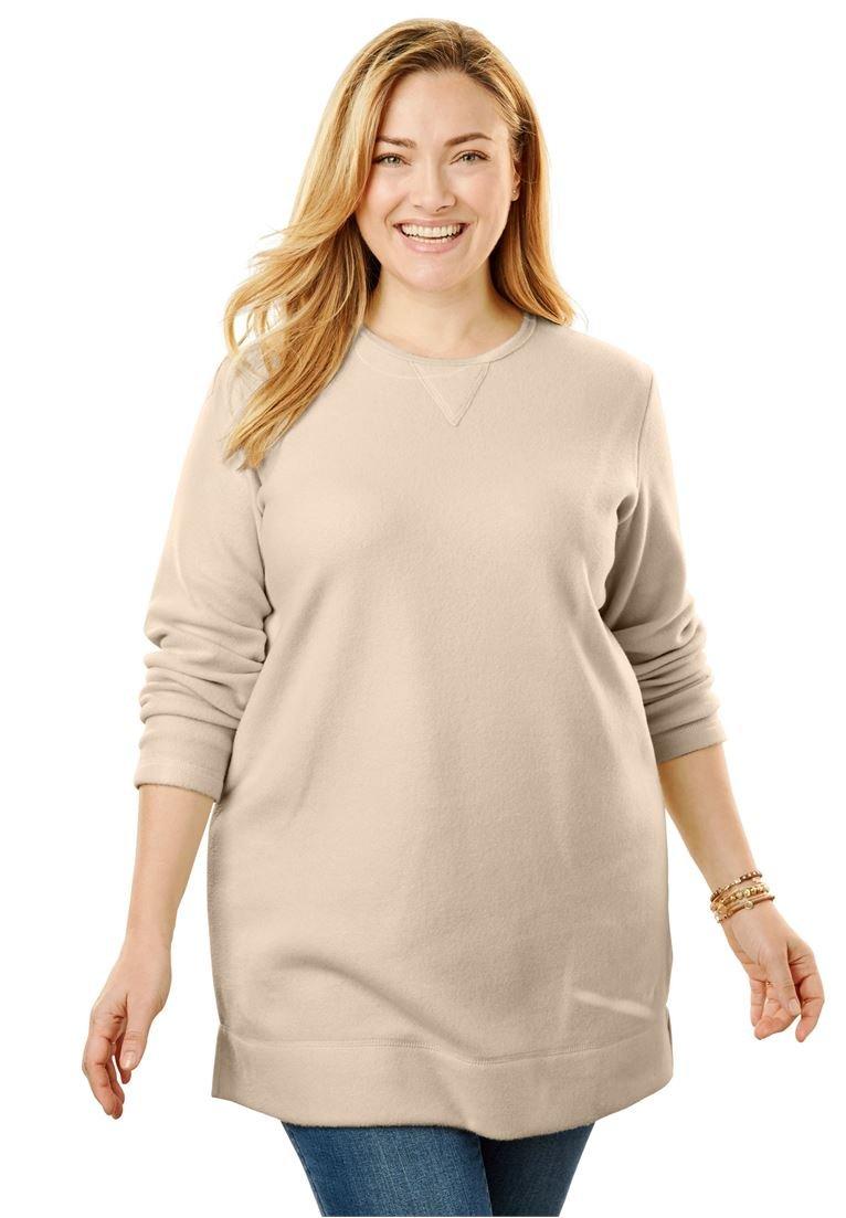 Women's Plus Size Cozy Fleece Tunic Sweatshirt Oatmeal,5X