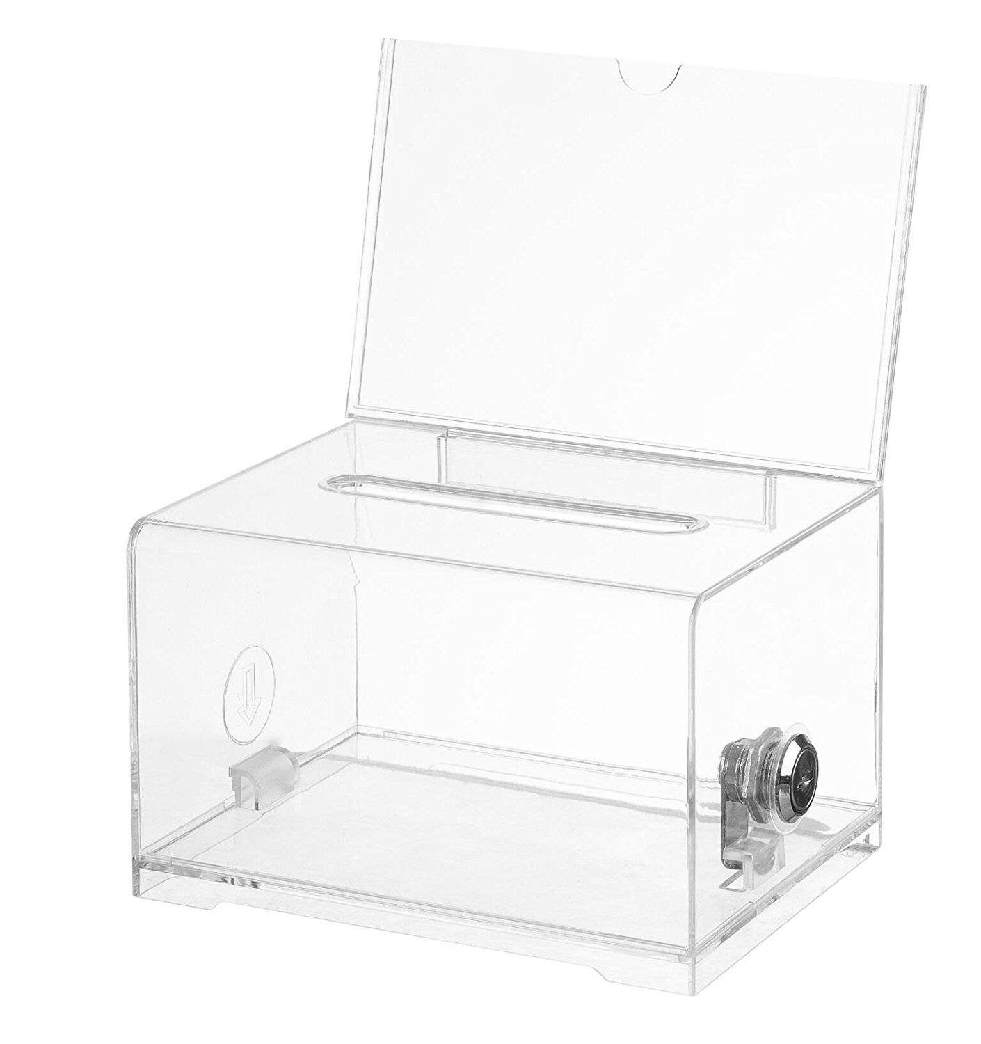 Polmart Clear Suggestion/Business/Card Drawing Box with Sign and Lock