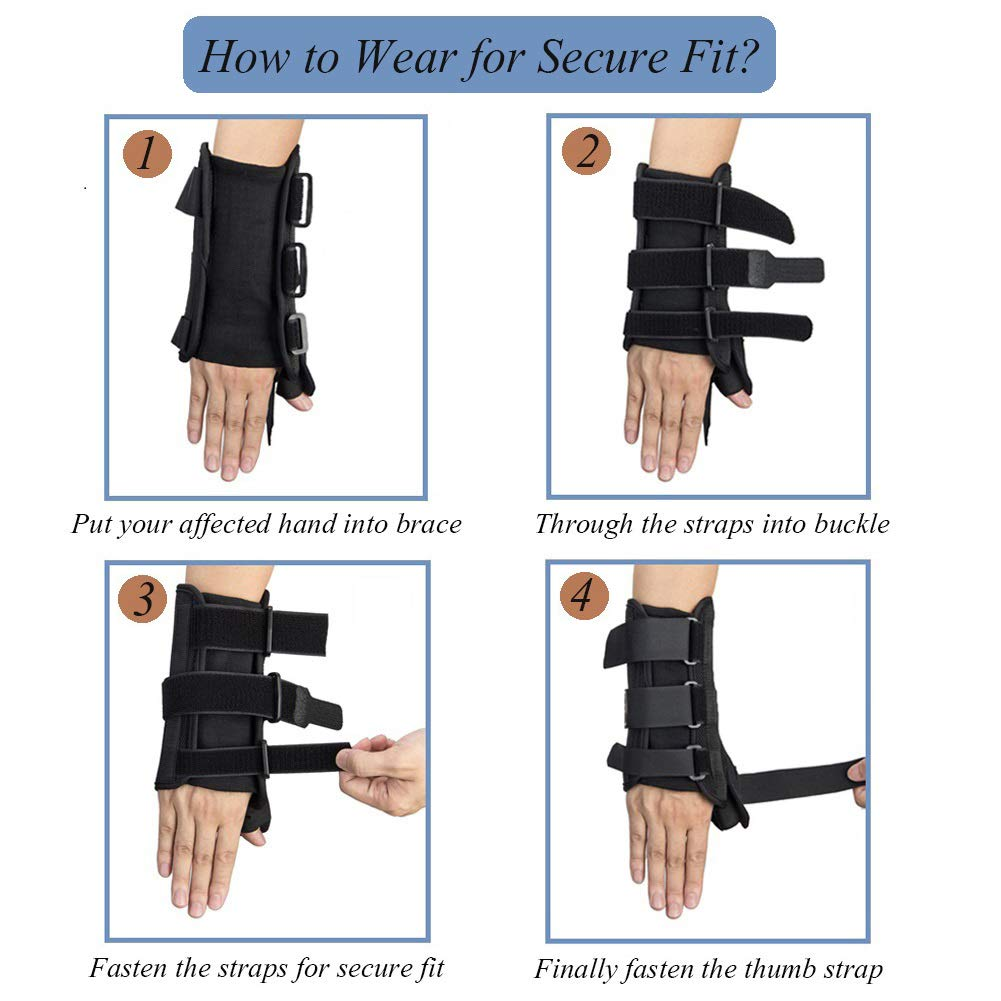 Thumb & Wrist Spica Splint, Adjustable Supportive Wrist Braces for Arthritis, Carpal Tunnel, Soft Tissue Injuries & Trigger Thumb Immobilizer Medium-Left by Medibot (Image #3)