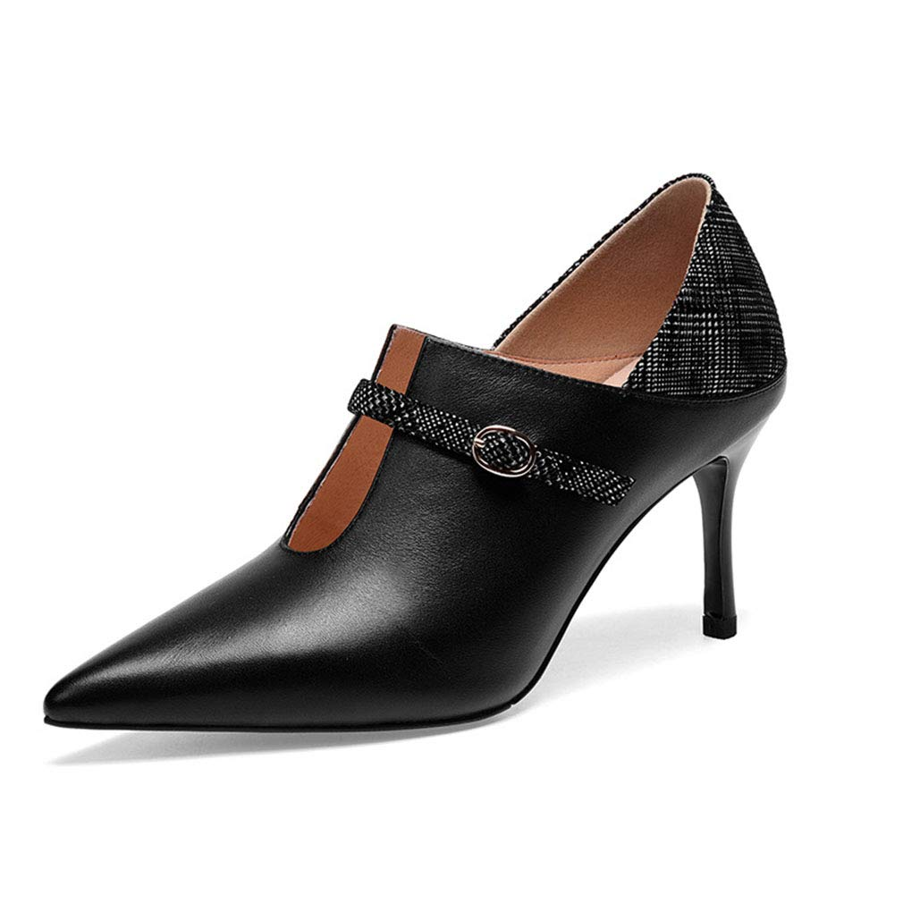 damen ' S Fashion schuhe Fashion S Pointed Leather Deep Mouth Single schuhe Ladies 2019 New Spring Fall High Heels Pointed Party Dress High Heel,B,35 2dc406