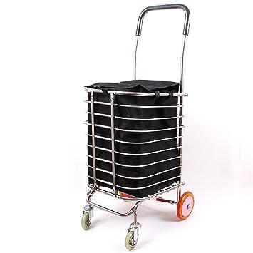 Shopping trolley XM ZfgG Carrito de Compras Carro de Remolque Pulido de Acero Inoxidable Plegable Polea 4 Rueda: Amazon.es: Hogar