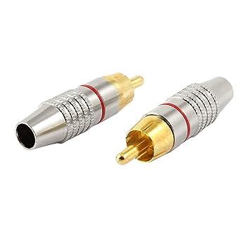 2 piezas Metal clavija de Audio macho RCA Cable coaxial conectores adaptadores