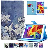 Galaxy Tab A 7.0 T280 Case,UUcovers Leather Protective Case Smart Auto Wake/Sleep Stand [Card Holder] Flip Wallet Case for Samsung Galaxy Tab A 7.0 SM-T280/T285-White Flower