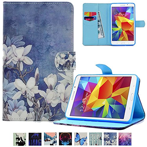 Galaxy Tab A 7.0 T280 Case,UUcovers Leather Protective Case Smart Auto Wake/Sleep Stand [Card Holder] Flip Wallet Case for Samsung Galaxy Tab A 7.0 SM-T280/T285-White Flower by UUcovers