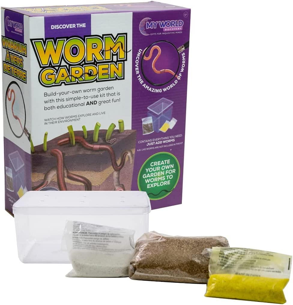 Funtime Discover The Worm Garden - Build Your own Wiggly Worm Garden Kit Childrens Kids Educational Nature Toy 5+