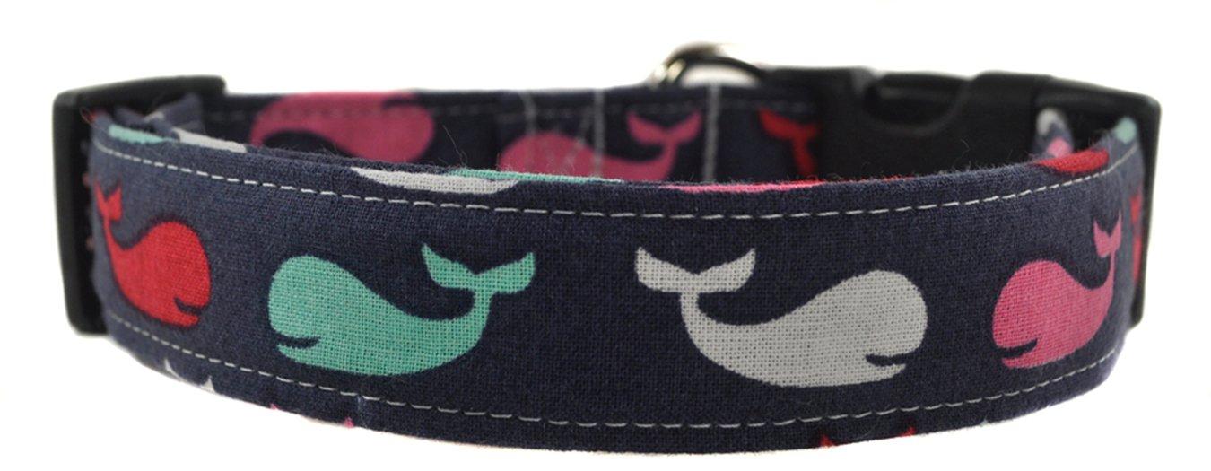 Navy Whale Nautical Dog Collar
