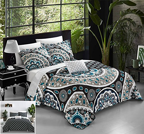 Chic Home 4 Piece Lacey Large Scale Contempo Bohemian Reversible Printed with Embroidered Details. Queen Duvet Cover Set Black (Ensemble Comforter Queen)