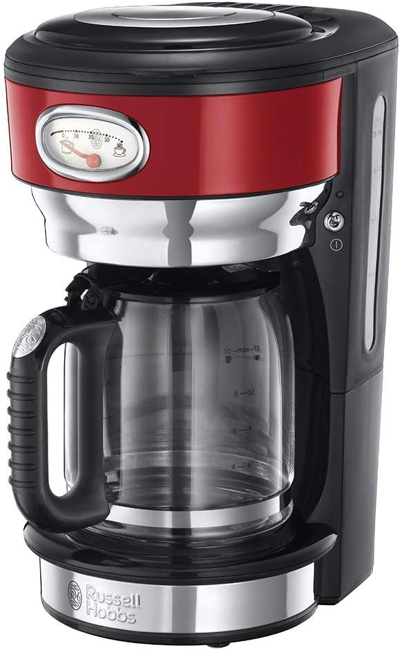 Russell Hobbs Retro - Cafetera de Goteo (Jarra Cafetera para 10 Tazas, 1000 W, Acero Inox, Rojo) - ref. 21700-56: Amazon.es: Hogar