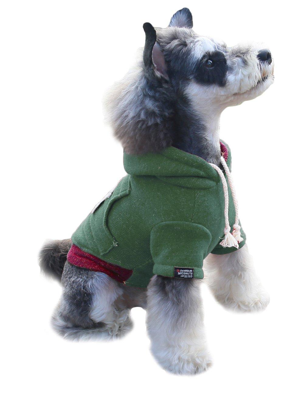 Gyapet Dog Sweater Hoodie For Small dogs Shirt Winter Warm Cotton Cloth Pet Puppy miniature schnauzer Green L